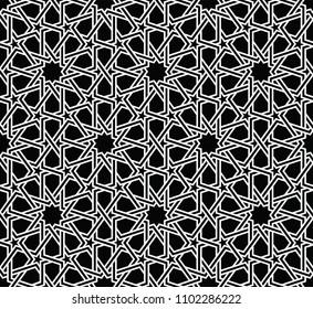 Фотообои Classical Islamic seamless pattern, Moroccan style geometric tiles, hexagonal grid lines, intricate repeat background for web and print - raster version