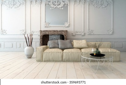 Classical light colored living room interior with decorative wooden wall panels, upholstered modular sofa and white painted hardwood floor. 3d rendering.