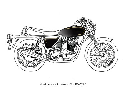 Classical and modern handrawn stylised motorcycles from the 1930's to the modern day