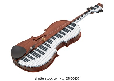 Classical music duet concept. Violin and piano, 3D rendering isolated on white background