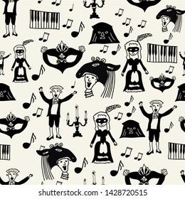 Classical music Wolfgang Amadeus Mozart repeating seamless pattern with Mozart, baroque lady, piano keys,candle stick, masks, notes perfect for paper or fabric