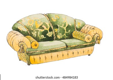 Classical sofa with golden pillows