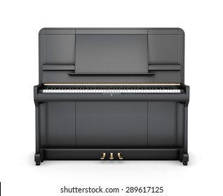 Classical upright piano isolated on white background. Front view. 3d illustration.