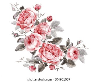 Classical vintage floral greeting card, watercolor bouquet of English roses, beautiful watercolor illustration