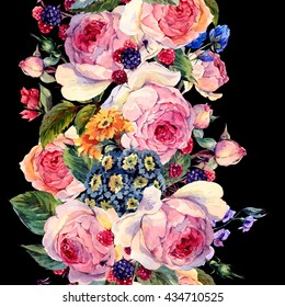 Classical vintage floral seamless border, watercolor bouquet of English roses and wildflowers, botanical natural watercolor illustration on black background