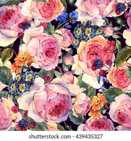 Classical vintage floral seamless pattern, watercolor bouquet of English roses and wildflowers, botanical natural watercolor illustration on black background