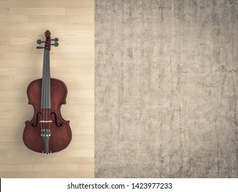 classical violin on wooden background and raw cement. 3d image render