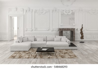 Classical white monochrome living room interior with wainscoting and wood paneling on the walls and ornate stucco moldings furnished with a large comfortable modular couch and rug. 3d Rendering.