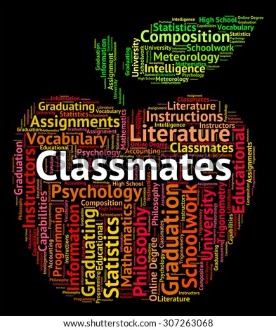 classmates word showing colleague text words stock illustration