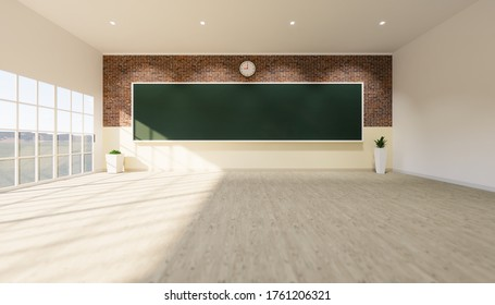 Classroom background. Empty room interior in school, university, college. And board, blackboard or chalkboard, wood or wooden floor in perspective. For teacher, student to teach and learn. 3d render.