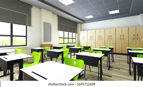 Classroom design with modern desks, green seats and wardrobe 3D rendering