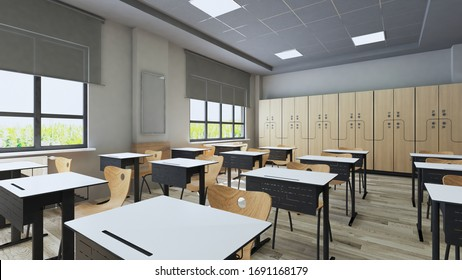 Classroom design with modern desks, seats and wardrobe 3D rendering