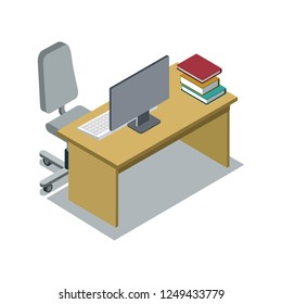 Classroom desk with textbooks and computer monitor 3d isometric icon. Primary school education illustration.