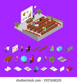 Classroom Interior with Furniture Parts and Students Learning or Training Isometric View Educational Technology. illustration of Class Room