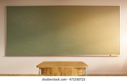 Large Green Chalkboard Desk And Chair Made From Wood