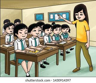 Classroom kids and teacher book illustration