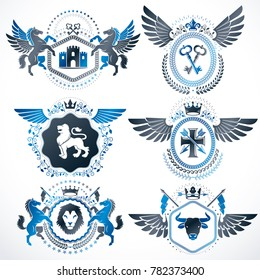 classy heraldic Coat of Arms. Collection of blazons stylized in vintage design and created with graphic elements, royal crowns and flags, stars, towers, armory, religious crosses.