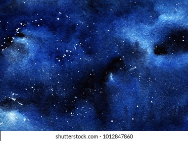 A clastic starry night sky. Clouds, a deep space of black and blue flowers with a spray of white stars. Drawing with watercolor.