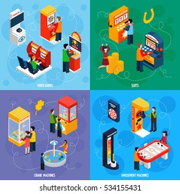 Claw crane and video games amusement slot machines 4 isometric icons square banner abstract isolated  illustration