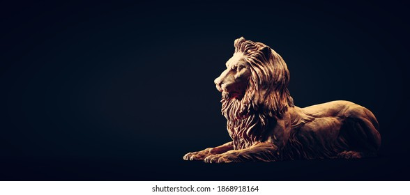 A clay lion sculpture portrait. Concept of a strength power and staying proud. 3D illustration