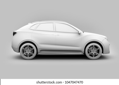 Clay model rendering of Electric SUV concept car. 3D rendering image.