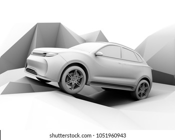 Clay model rendering electric SUV on geometric ground. 3D rendering image.