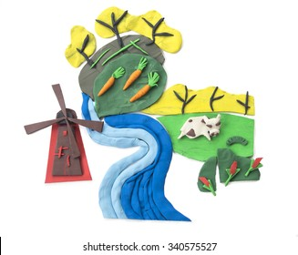 clay (plasticine) conceptual background, Dutch nature and agriculture