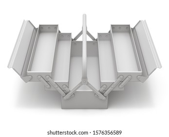 Clay render of cantilever tool box over white background - 3D illustration