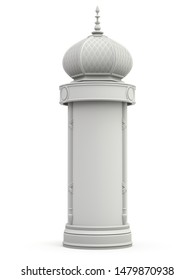 Clay render of retro advertising column on white background - 3D illustration