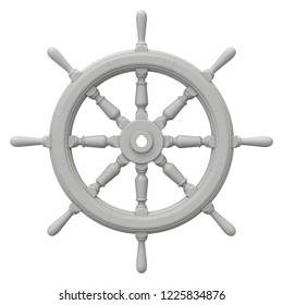 Clay render of ship steering wheel isolated on white background - 3D illustration