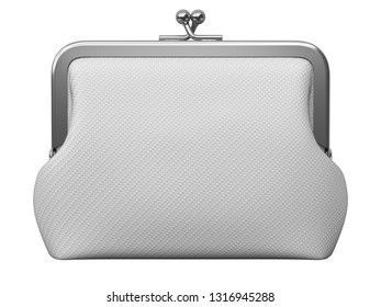 Clay render of woman fabric purse isolated on white background - 3D illustration