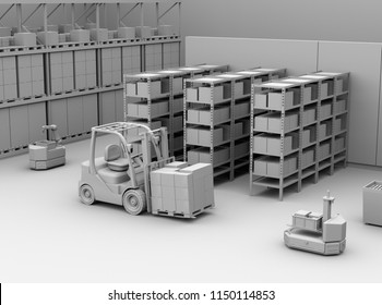 Clay rendering of AGV robots, electric forklift with cardboard boxes in modern distribution center. 3D rendering image.