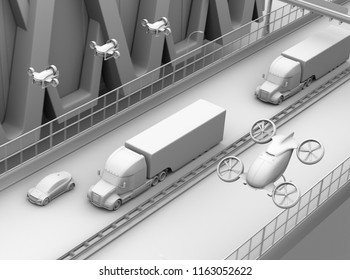 Clay rendering of American Trucks, cargo drones and flying car. Logistics and transportation concept. 3D rendering image.