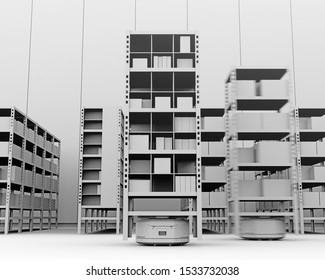 Clay rendering of Autonomous Mobile Robots delivering shelves in distribution center. Intelligent logistics center concept. 3D rendering image.