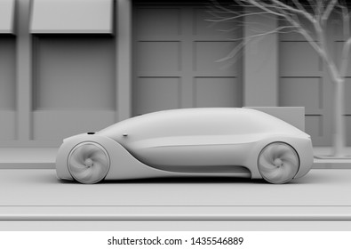 Clay rendering of  autonomous sedan moving fast on the road. 3D rendering image.