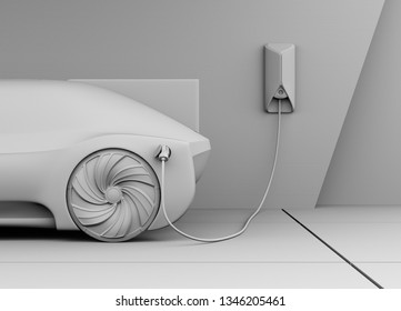 Clay rendering of electric car charging in charging station. 3D rendering image.