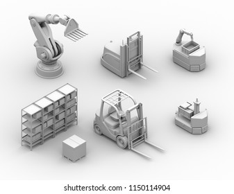 Clay rendering electric forklift, autonomous forklift, AGV, industrial robot. isometric view. 3D rendering image.