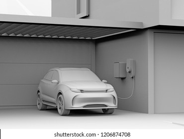 Clay rendering of electric powered SUV recharging in garage. 3D rendering image.