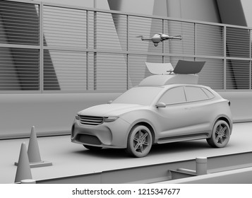 Clay rendering of electric rescue SUV released drone to recording car accident on highway. 3D rendering image.
