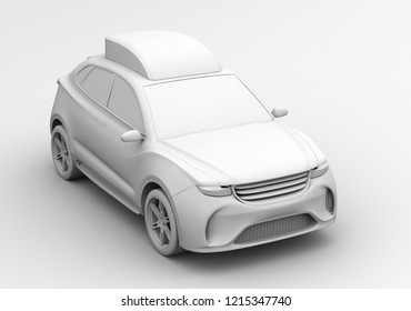 Clay rendering of electric rescue SUV. 3D rendering image.