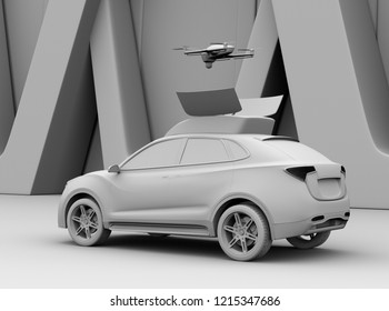 Clay rendering of electric SUV released drone for leisure entertainment. 3D rendering image.
