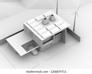 Clay rendering of electric vehicle recharging in garage. The smart home powered by solar panels and wind turbine. 3D rendering image.