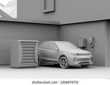 Clay rendering of electric vehicle recharging in garage. Charging station powered by reused EV batteries. 3D rendering image.