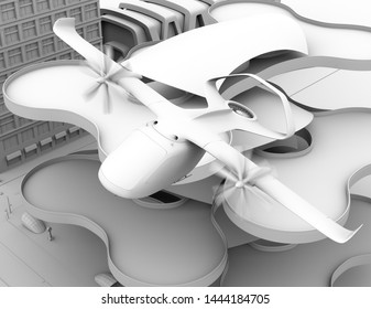 Clay rendering of E-VTOL passenger aircraft taking off from airport. 3D rendering image.