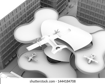 Clay rendering of E-VTOL passenger aircraft closing to airport prepare to landing. 3D rendering image.