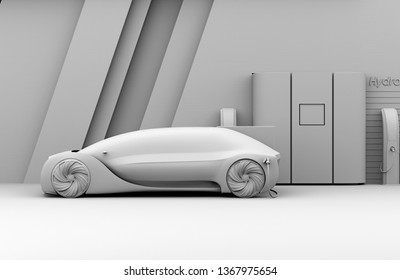 Clay rendering of Fuel Cell powered autonomous car filling gas in Fuel Cell Hydrogen Station. 3D rendering image.