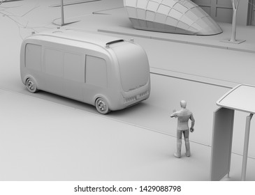 Clay rendering of a man in a bus stop. Electric powered autonomous shuttle bus closing to the bus stop. 3D rendering image.