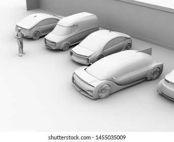 Clay rendering of a man using smartphone to remote control car parking. Self parking system concept. 3D rendering image.