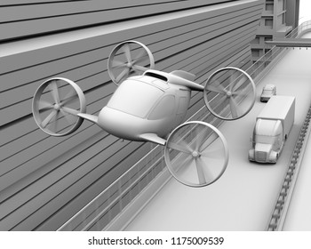 Clay rendering of Passenger Drone Taxi flying over American truck driving on highway. 3D rendering image.