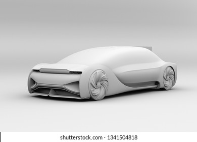 Clay rendering of self driving electric car exterior. 3D rendering image.